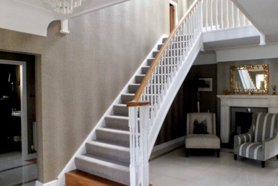 Edwards & Hampson white curved stairs