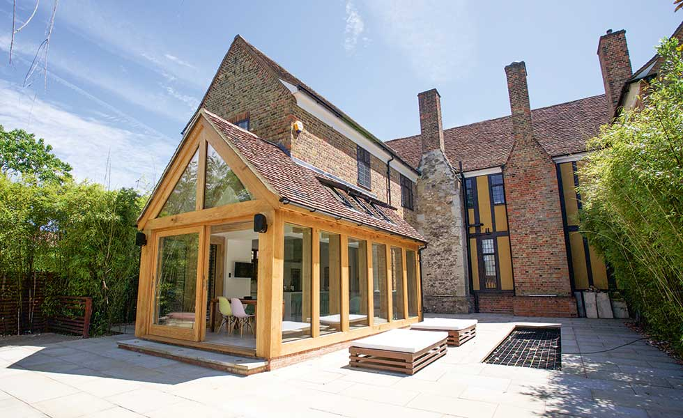 How to add an oak frame extension homebuilding renovating for A frame cost