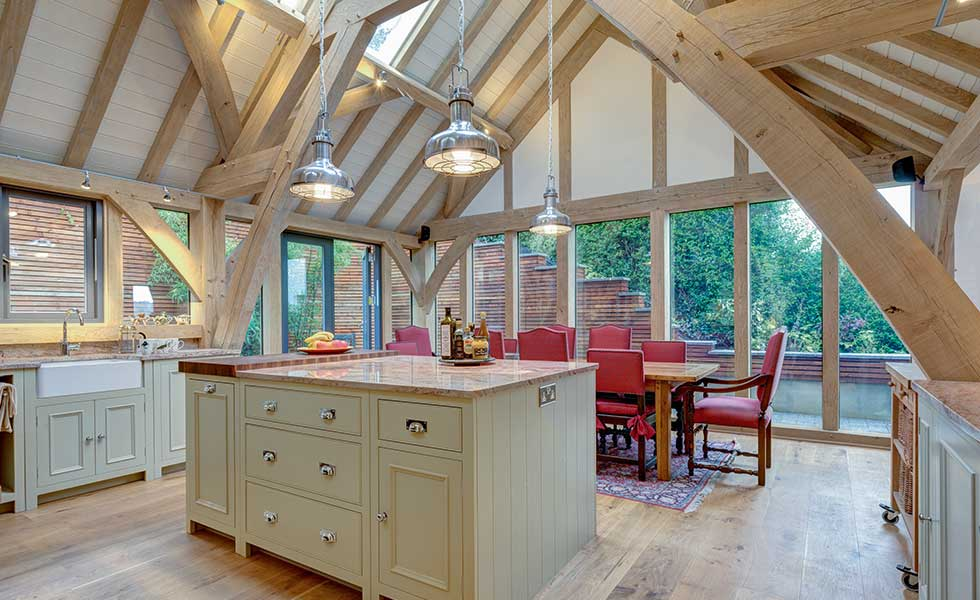 How to add an oak frame extension homebuilding renovating for Traditional kitchen extensions