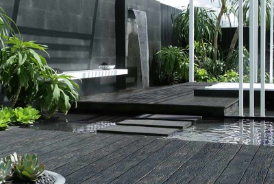 millboard decking Carbonised Embered water garden