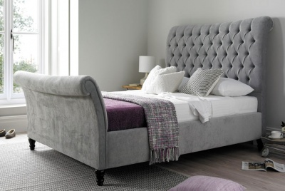 time4sleep Silver Sleigh Bed