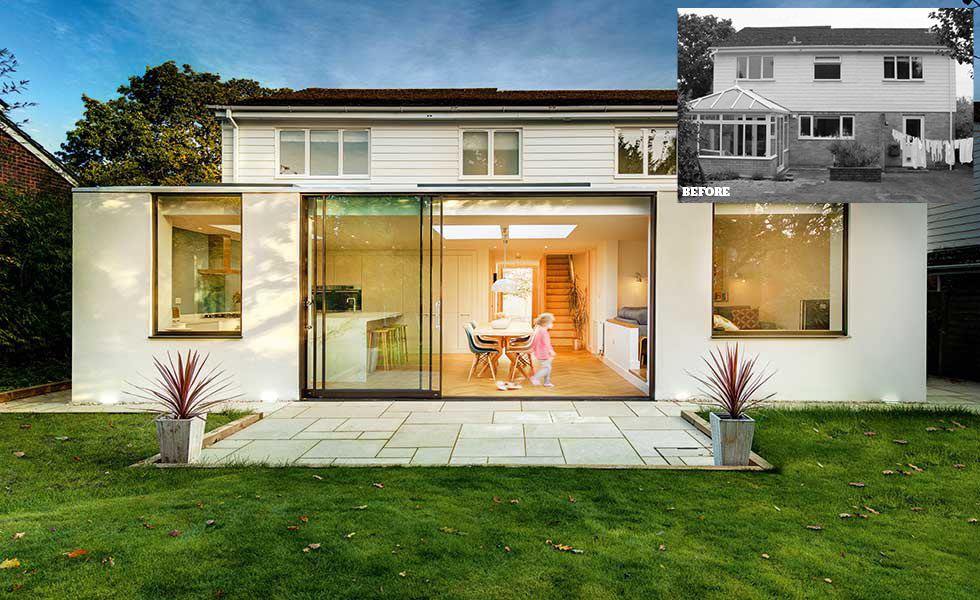 This white rendered extension offers a dated home with a modern kitchen diner and garden access