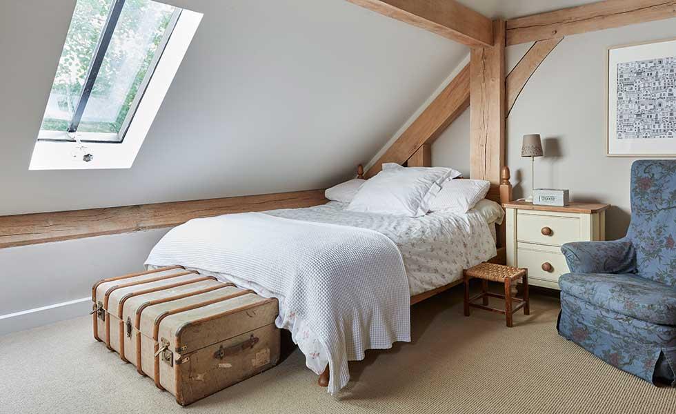 Bedroom in oak frame self build