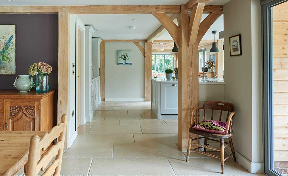View of kitchen and dining area in oak frame self build