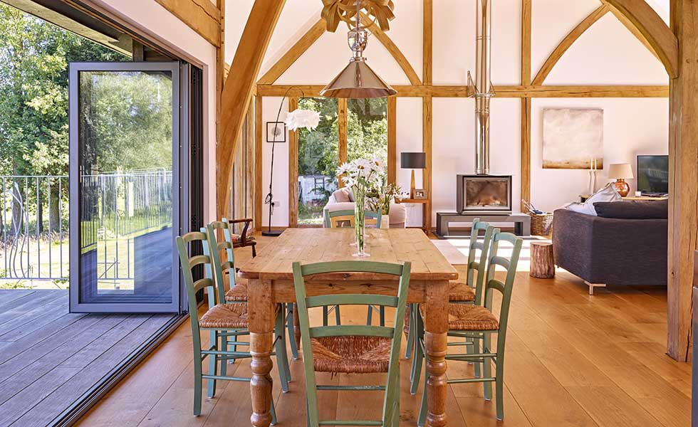 Dining area in oak frame home