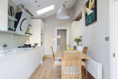 Garage conversion into kitchen diner
