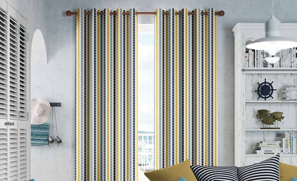 curtains 2go Houndstooth Beach Blue