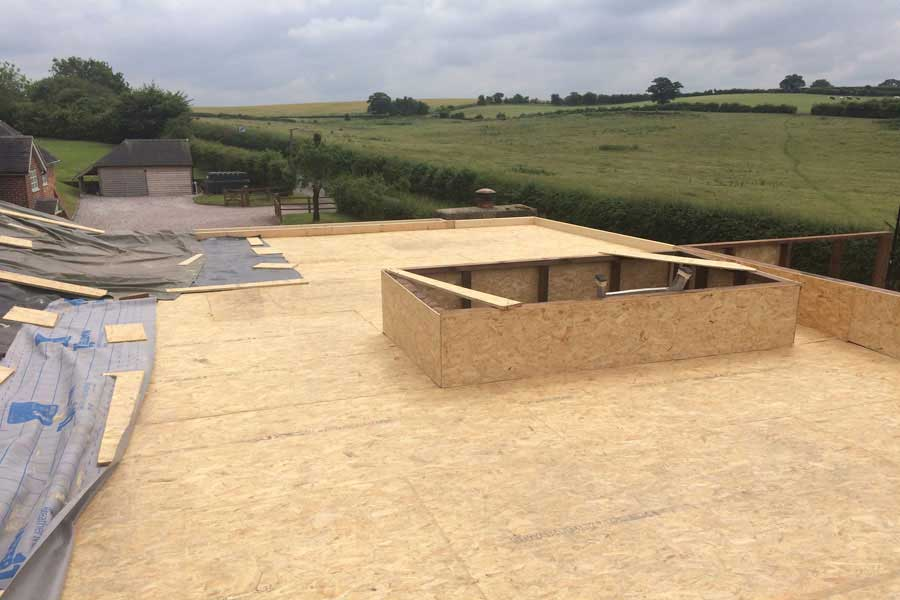 Plywood deck flat roof