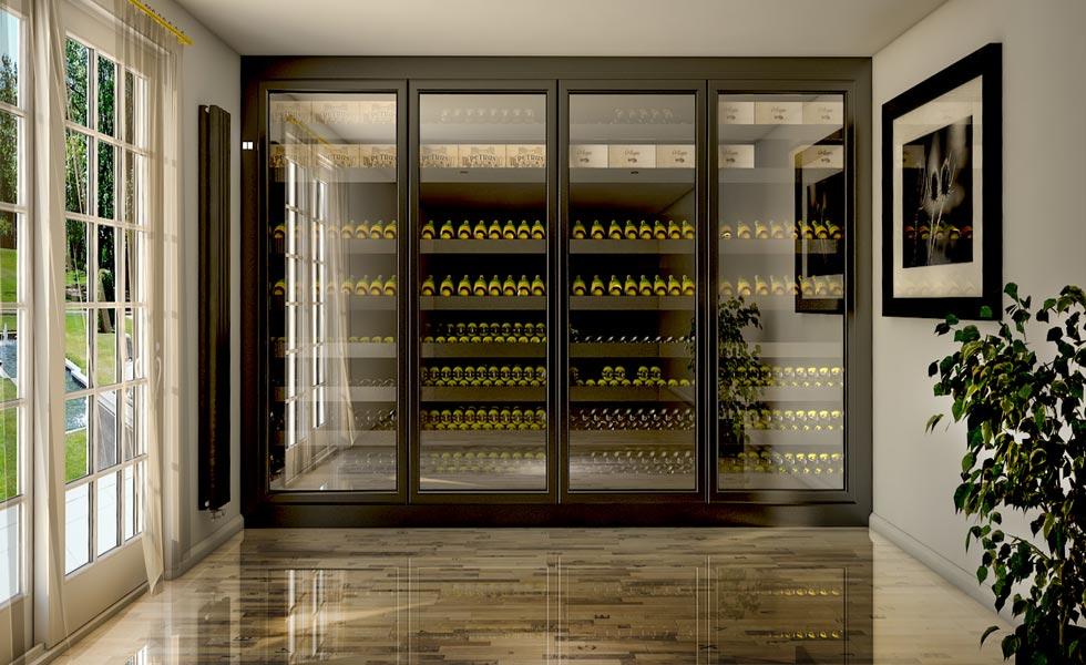 wine corner wall cellar marble floor