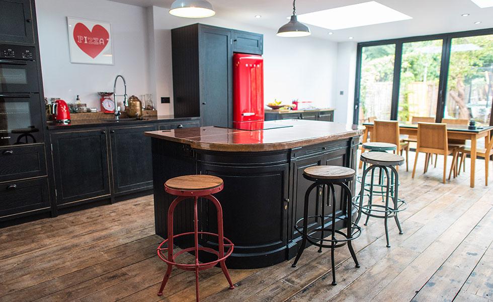 copper worktop in retro kitchen