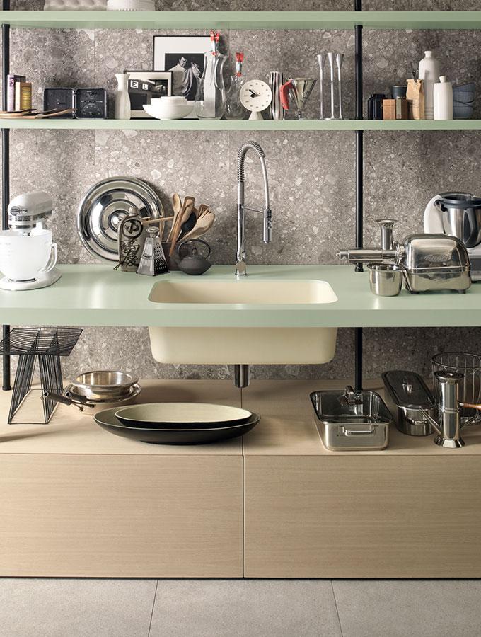corian composite worktop in green with sink
