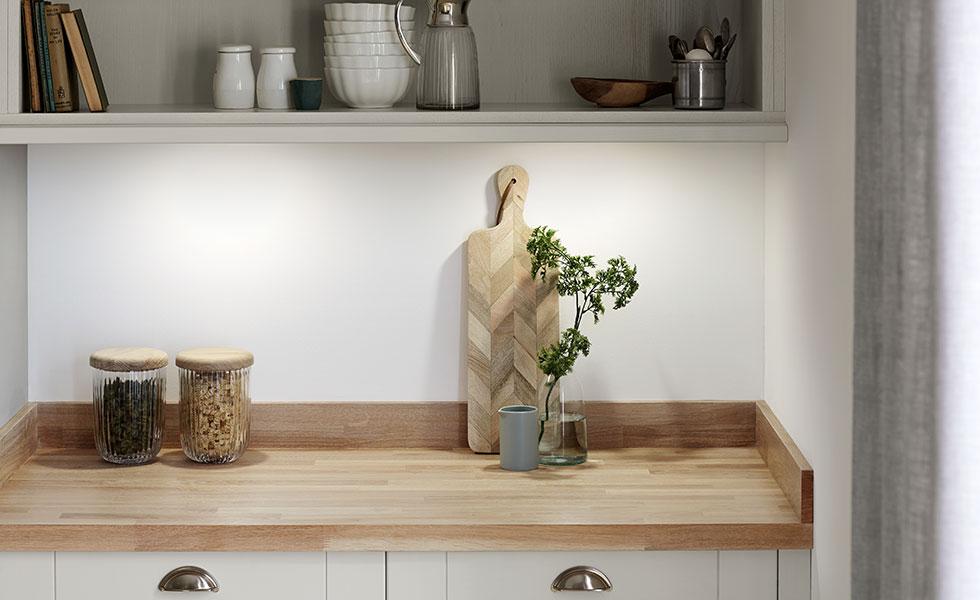 wood worktop with upstand