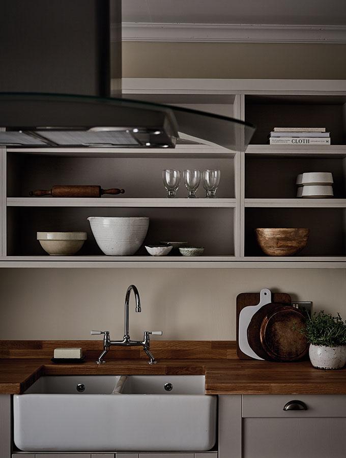 wooden worktop in modern grey kitchen