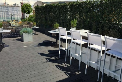 Clarity Charcoal composite decking used on a rooftop bar