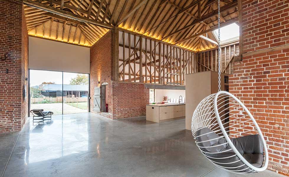 Interior of barn showing cruciform circulation space