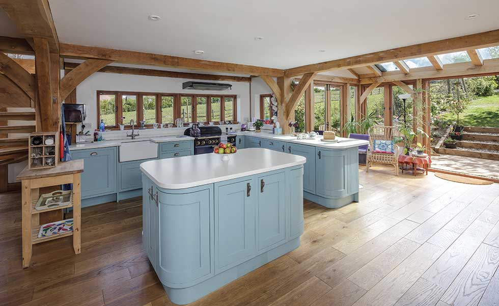 open-plan-kitchen-in-oak-frame-home