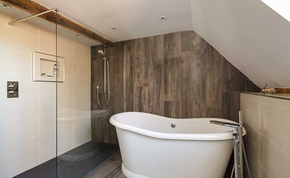 Contemporary bathroom in old house