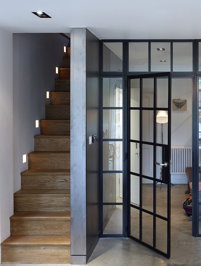 glazed crittall interior doors with staircase