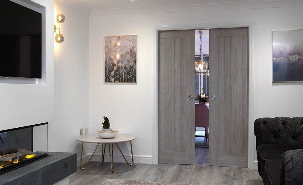 grey pocket doors internal in living room
