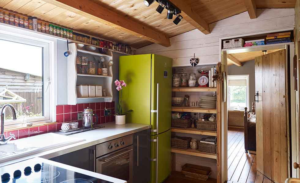 The kitchen in the Hesselgrave's log cabin