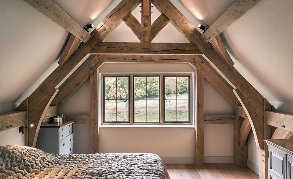 Master bedroom with exposed beams