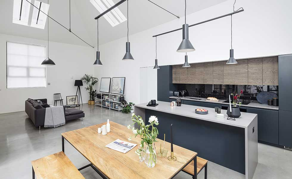 A minimalist contemporary modern kitchen design has been used in this conversion project