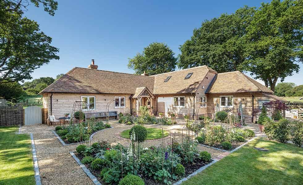 oak frame home on a greenbelt plot