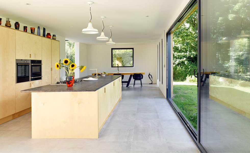 kitchen and sliding doors in CLT extension