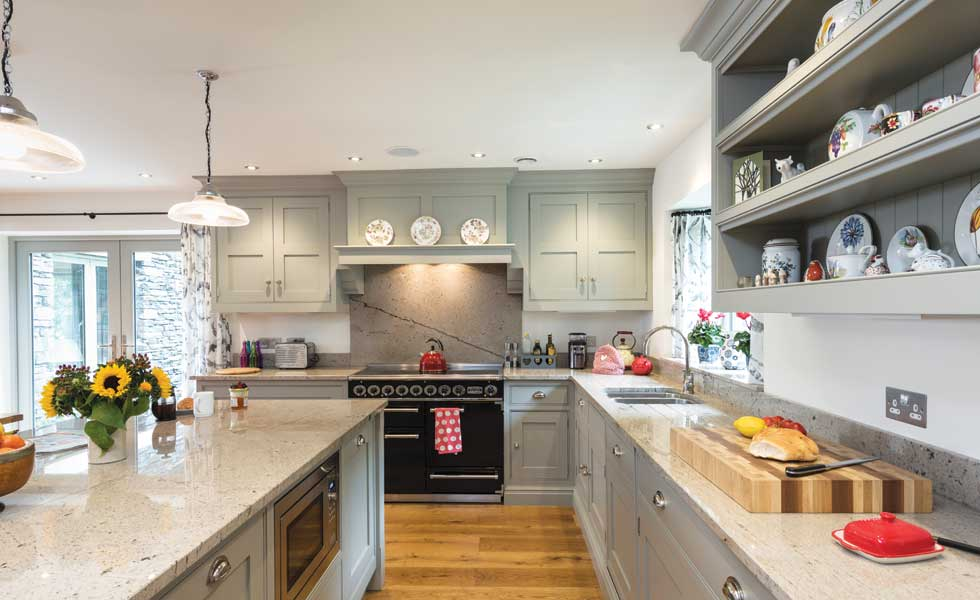 Painted grey Shaker kitchen with Aga