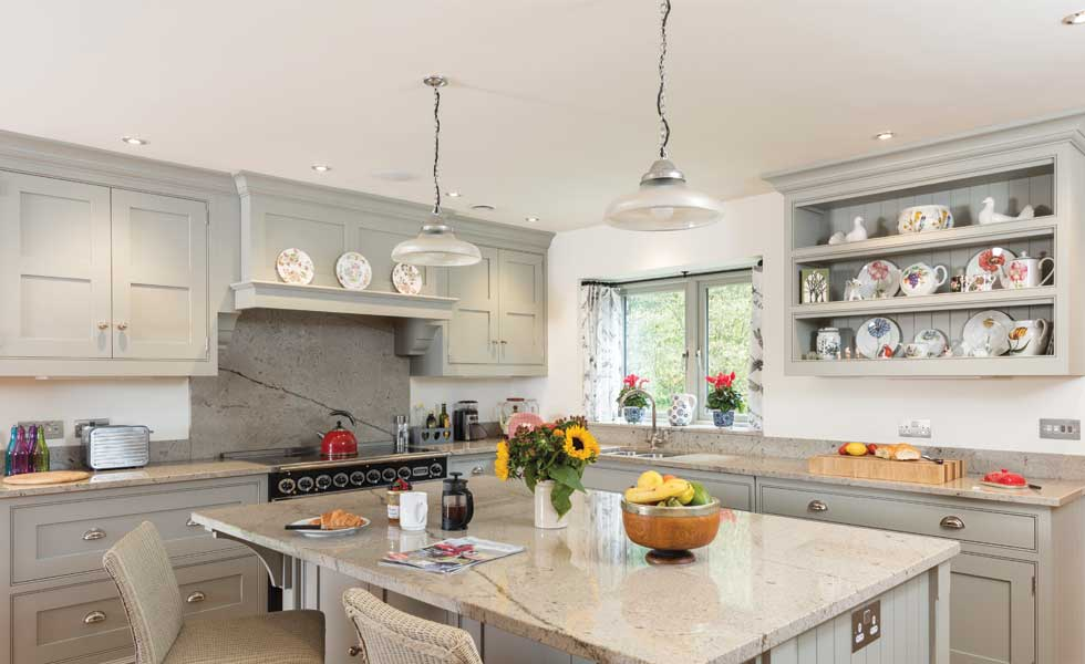 Grey painted Shaker kitchen