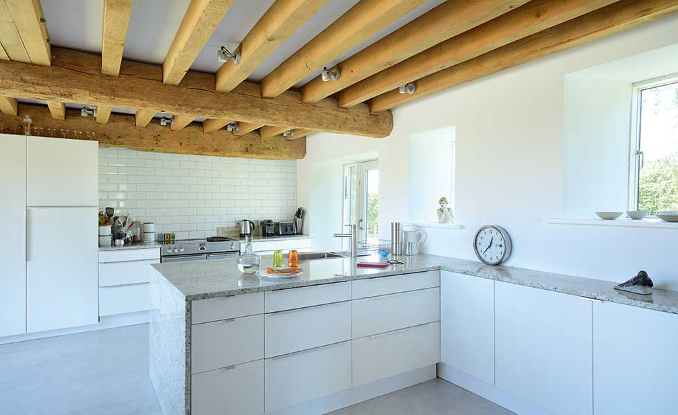 White contemporary kitchen with exposed beams