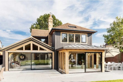 Contemporary Oak Frame Self Build Clad in Timber