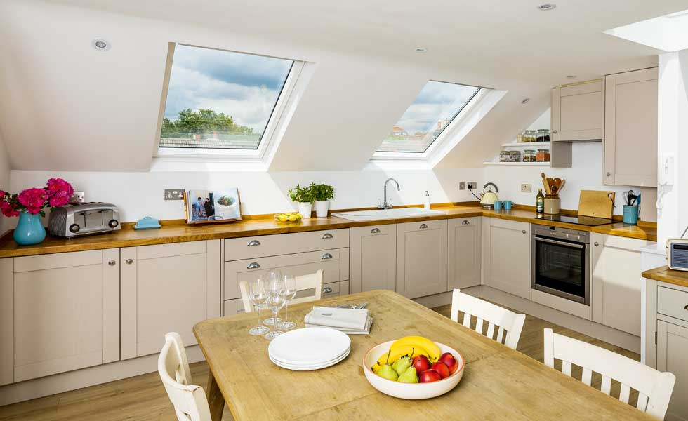 rooflights in a loft extension kitchen in London