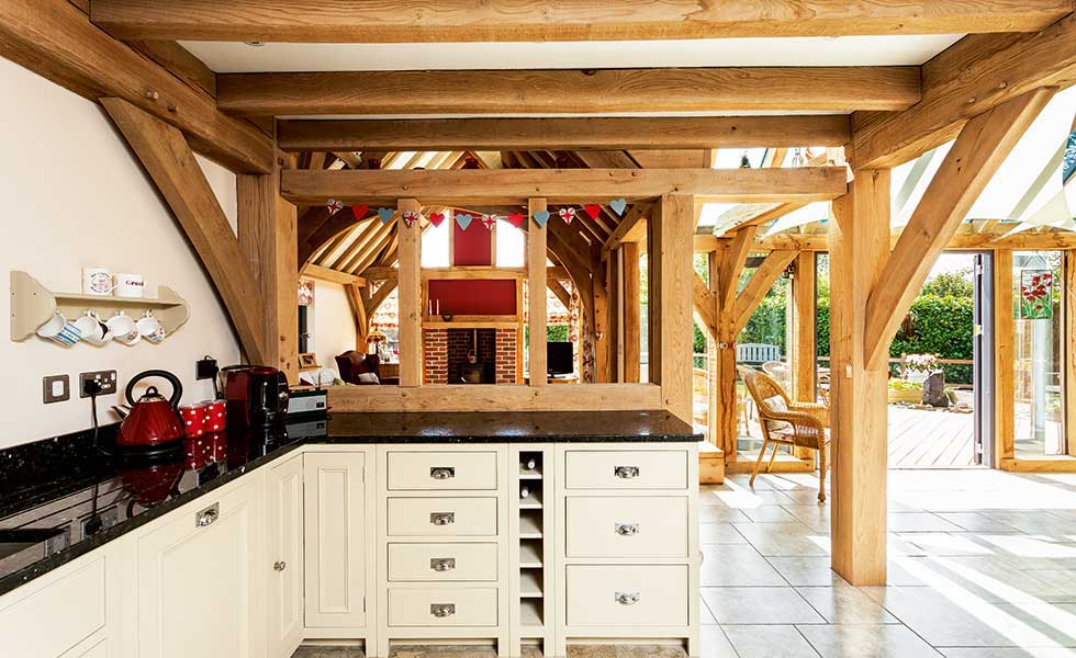 timber frame country style shaker kitchen with granite worktops