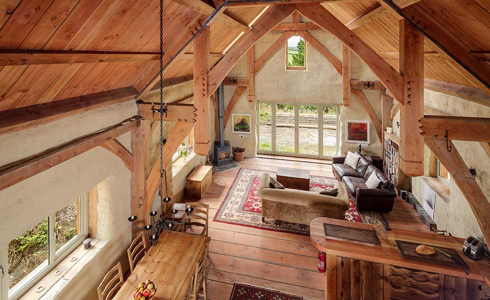 Straw bale and timber frame home built on a budget