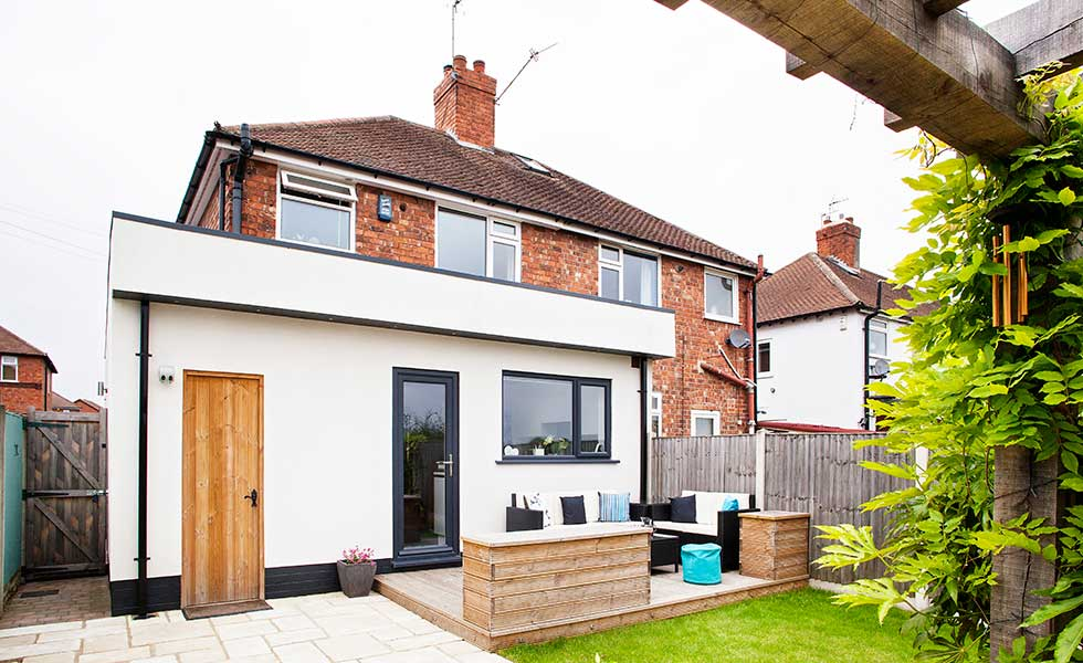 A 1930s semi-detached home extended and remodelled for under £40,000