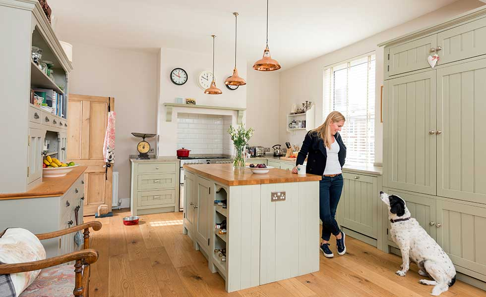 Shaker kitchen in budget Victorian renovation
