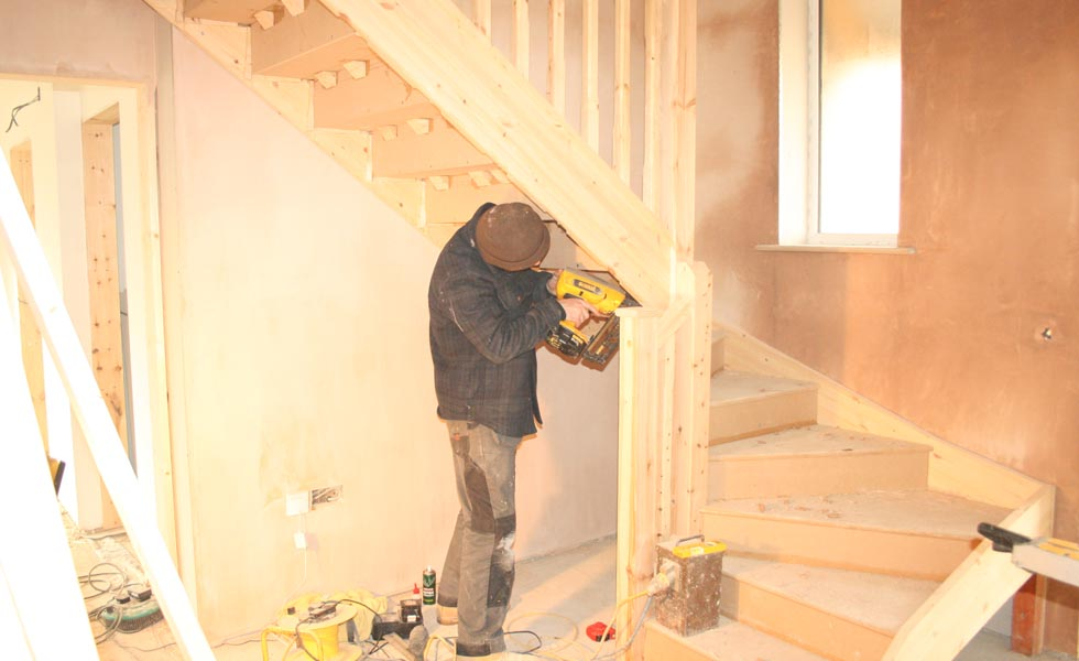 Building a house - fitting the staircase