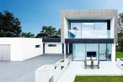 Contemporary house with white render