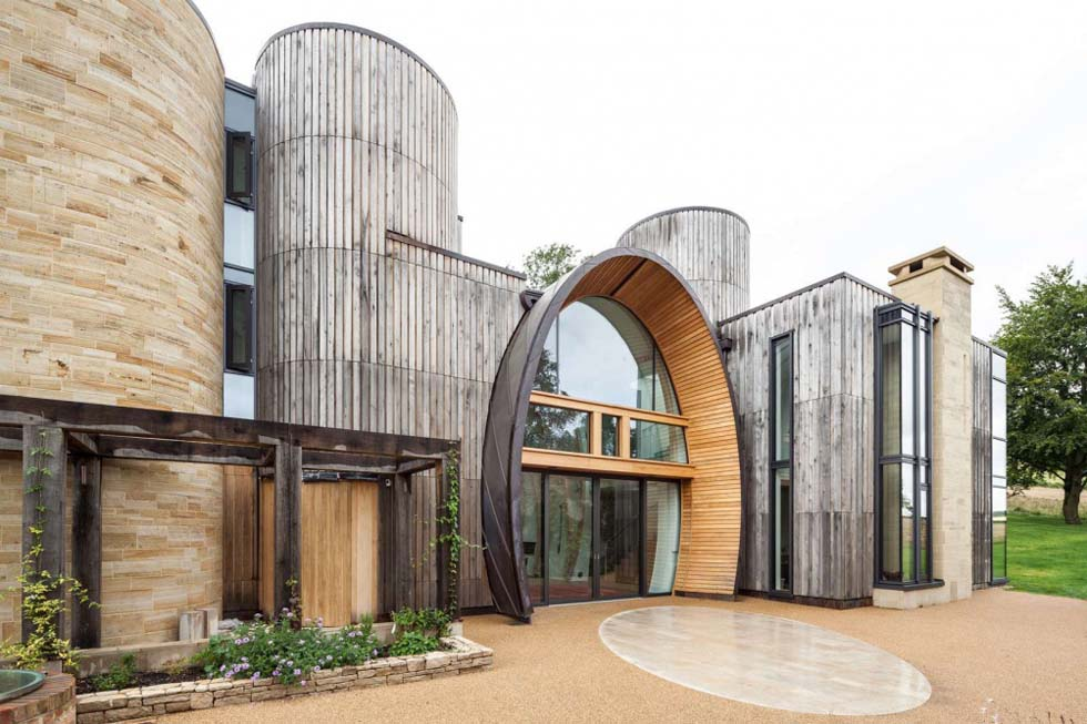 This Hampshire home has an unusual entrance within the barrel shaped section of the home