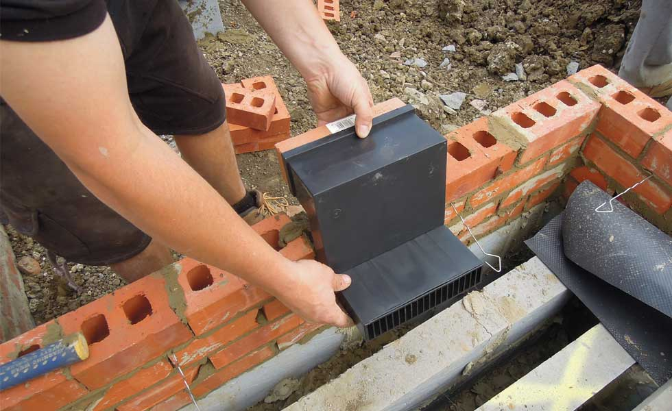 periscope vent fitted into brickwork