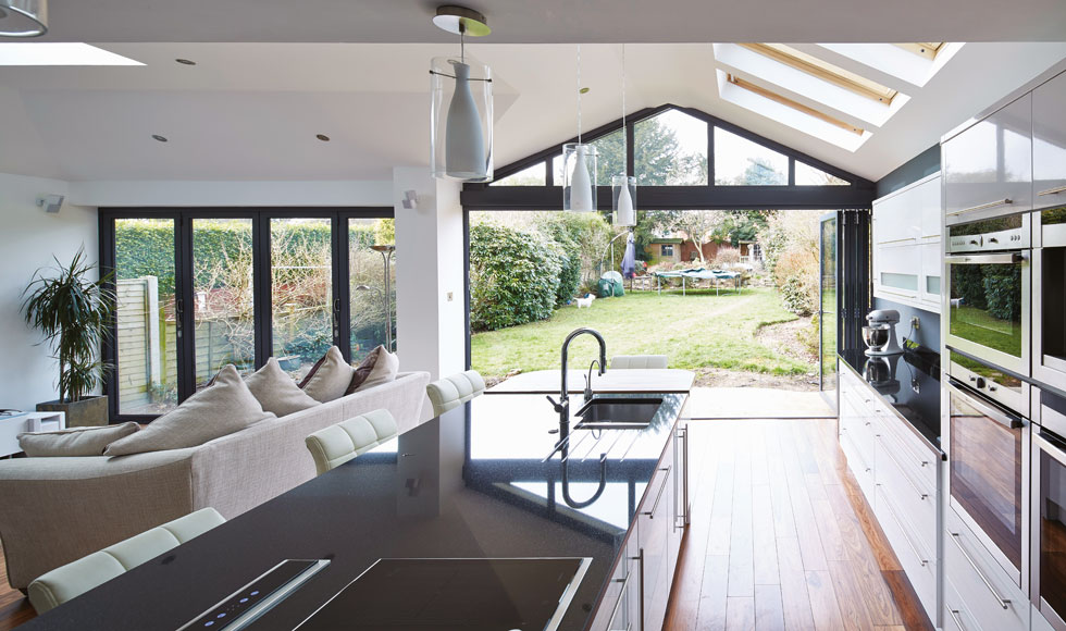 These sliding bifold doors open the room up to the outdoors