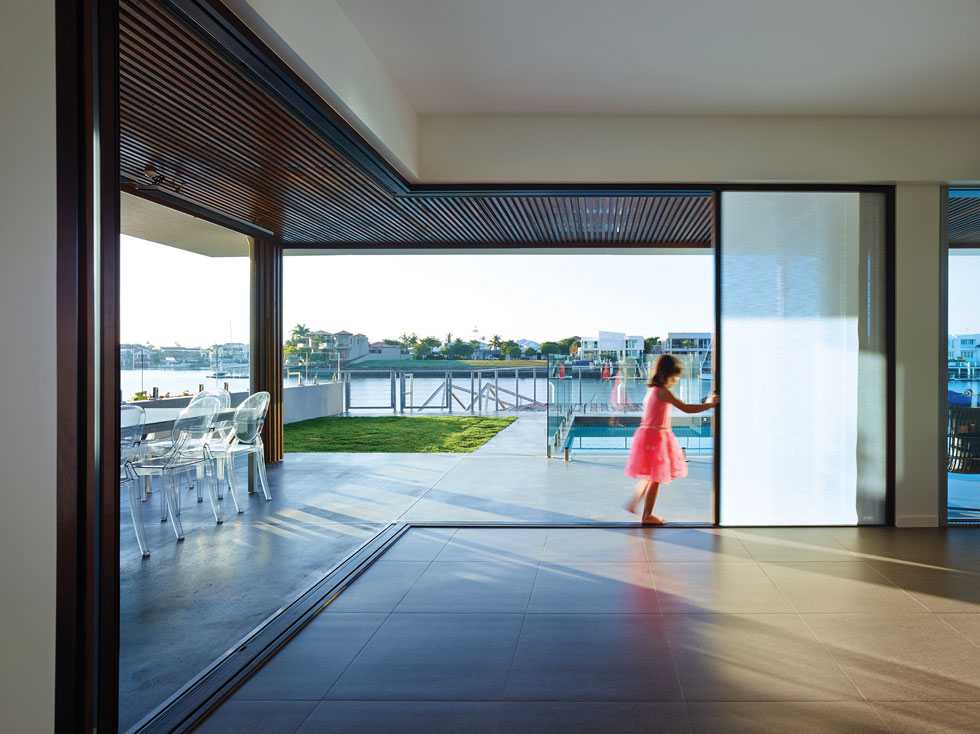 Corner glazing here allows the whole room to be opened up to the outdoors