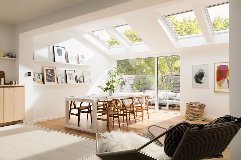 This bank of Velux rooflights is a great way of introducing glazing to add light from above