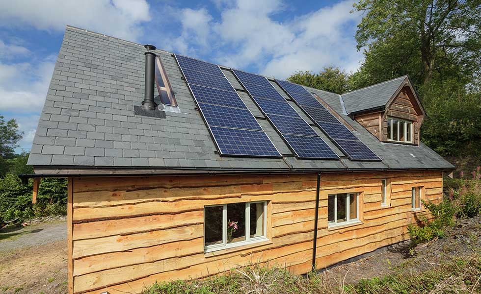 Solar PV Panels on straw bale self build