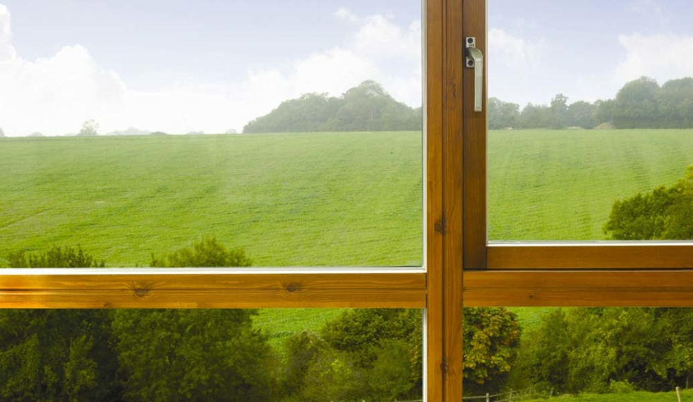 A wood-framed window with casement style-opening, from Rationel Windows & Doors