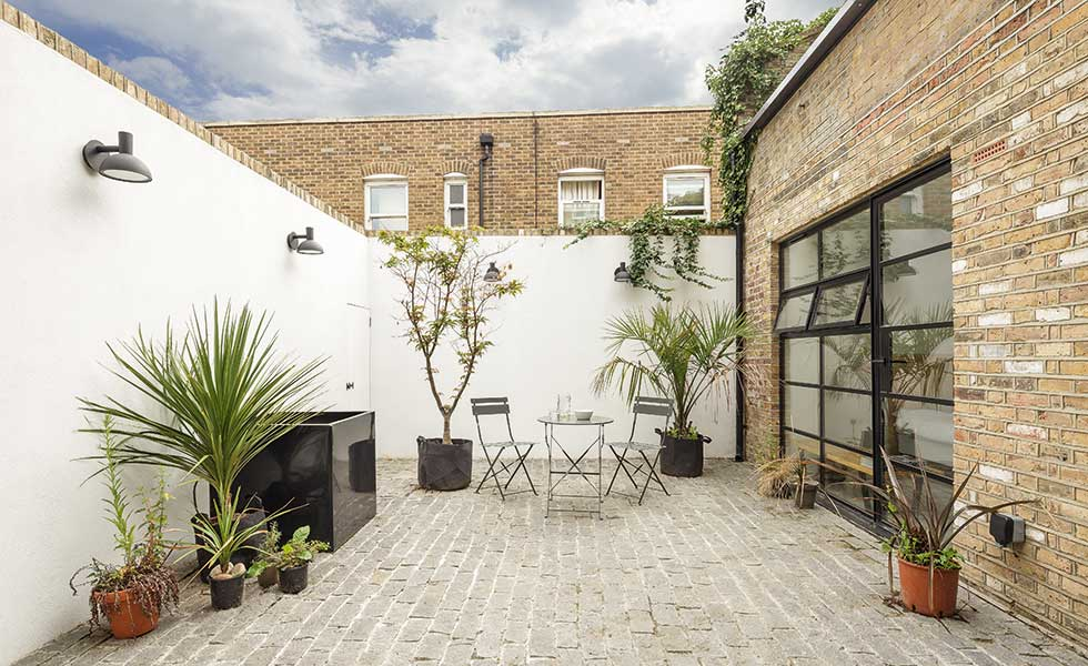 The new courtyard to this conversion project allows for outdoor amenity space