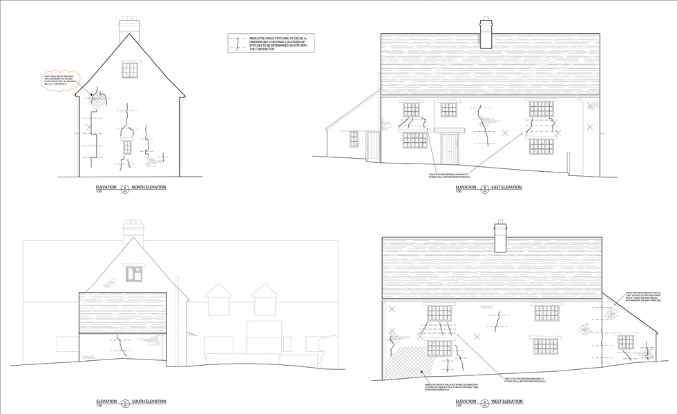 structural engineers drawings showing stitching needed