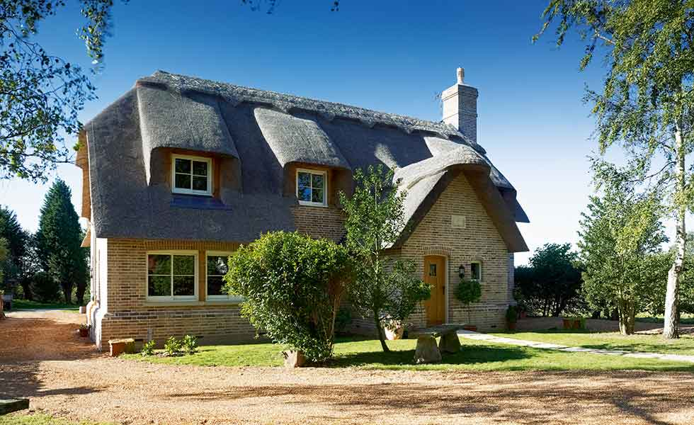 This traditional cottage has been built complete with a thatch roof