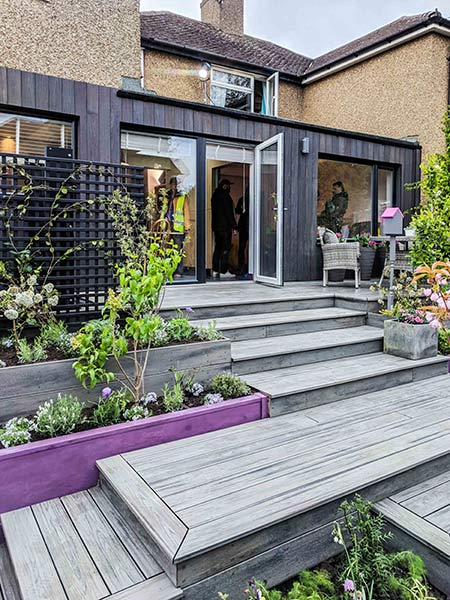 charred timber cladding used on modern extension